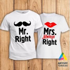 "Парные футболки ""Mr&Mrs Right"""